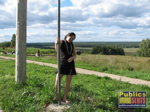 Exciting upskirts on the side of road with Darja
