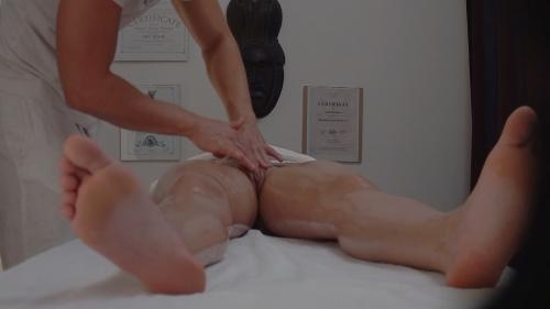 Brunette sucks the masseuse's cock