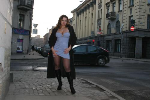 Tits and pussy on a street corner